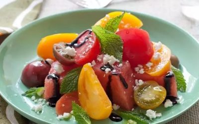 Refreshing Watermelon, Heirloom Tomato and Basil Salad